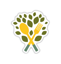 Paper sticker on white background eco cutlery vector