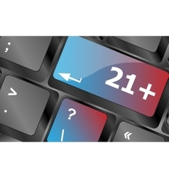 21 plus button on computer keyboard keys vector