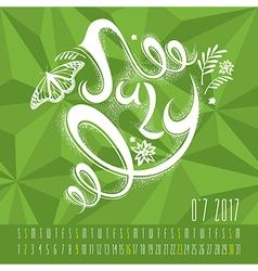Calendar for 2017 with hand drawn lettering vector