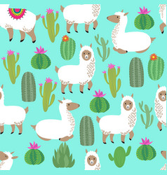 Alpaca seamless pattern cute llama baby vector