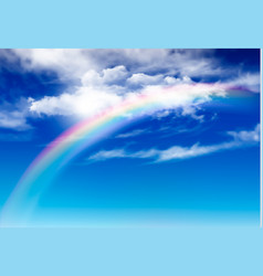 blue sky panorama with white clouds and rainbow vector image
