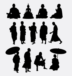 Buddhist monk silhouettes vector image vector image