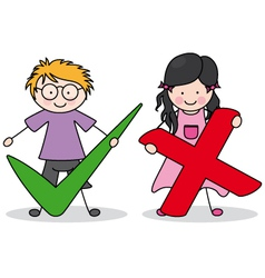 children with right and wrong signs vector image vector image