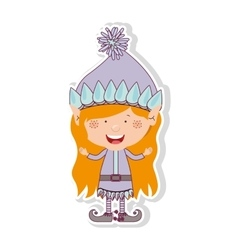 Color image with gnome blonde girl vector