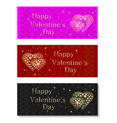 Colorful banners set for valentines day vector