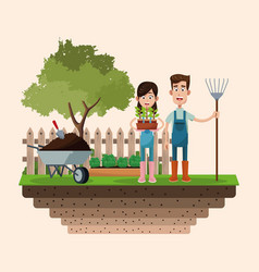Couple farmers with pitchfork and pot plant badge vector