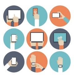 Devices in hand using touch screen vector image