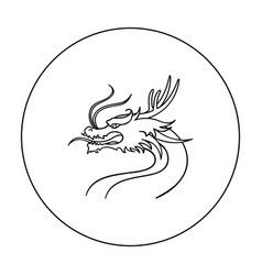 dragon icon in outline style isolated on white vector image