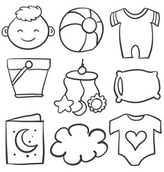 Element baby of doodle set vector
