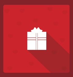 Gif box long shadow flat with red hearts vector