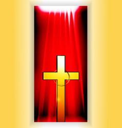Golden cross with ring over reb banner vector