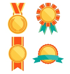 Golden premium quality best flat labels medals vector