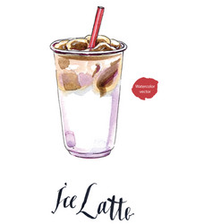 iced latte or iced coffee in takeaway cup vector image vector image