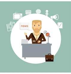journalist tells the news while sitting at the vector image