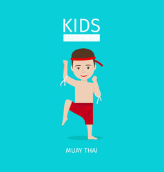 kids martial art muay thai boy vector image