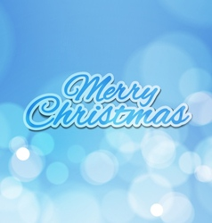 Merry christmas with bokeh lights blue background vector