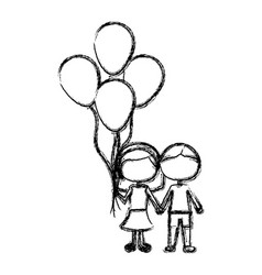 Monochrome sketch of caricature faceless couple in vector