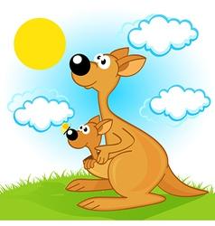 mother kangaroo with baby vector image