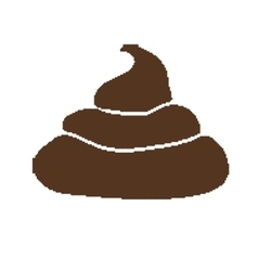 Pixel art style pile of brown shit isolated vector image