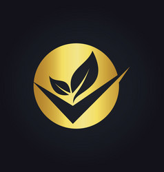 Round organic check gold logo vector