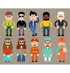 Set of flat men different professions vector image