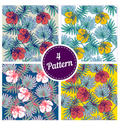 set of summer colorful hawaiian seamless pattern vector image vector image