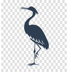 silhouette heron stork bird black vector image
