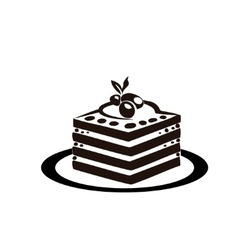 sweet cake is on the saucer vector image vector image