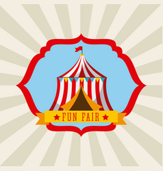 tent amusement fun fair theme park poster vector image