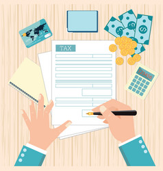 top view of man hands filling tax form with pen vector image