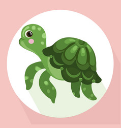 Turtle background cute cartoon character vector