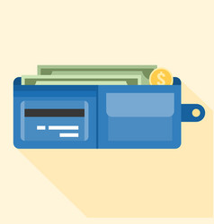 wallet full of money and credit card vector image vector image
