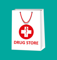 white shopping bag for medical pills and bottles vector image