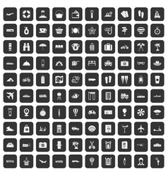 100 travel time icons set black vector