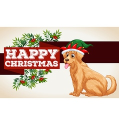 Christmas card template with dog and mistletoes vector