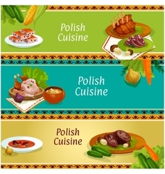 Polish cuisine meat and vegetable dish banner set vector