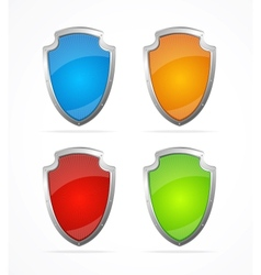 Empty metal shields icons vector