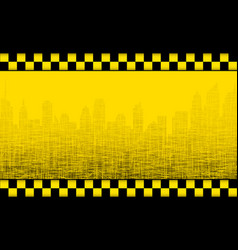 Background with taxi sign and city silhouette vector