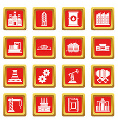 Industry icons set red vector