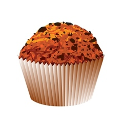Muffin with chocolate cake object vector
