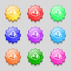 Upload icon sign symbol on nine wavy colourful vector