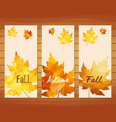 Three autumn banners with maple leaf in triangular vector