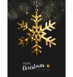 Merry christmas happy new year gold snow origami vector image