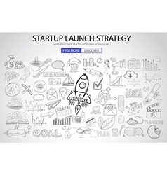 Strartup launch strategy concept with doodle vector