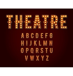 Casino or broadway signs style light bulb alphabet vector