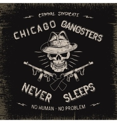 Vintage label with gangster vector