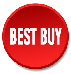 Best buy red round flat isolated push button vector