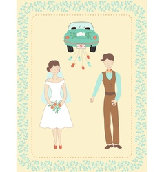 Wedding couple and car vector