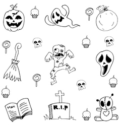 Scary element doodle Halloween vector image