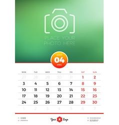 Wall calendar template for 2017 year april design vector